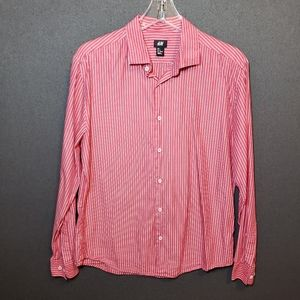 H&M Mens Size L Red Pinstrip Long Sleeve Shirt